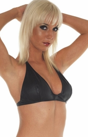 Leather Scoop Bra with Snap