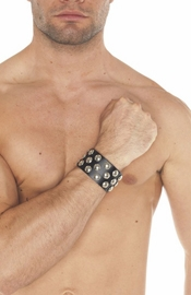 Leather Wrist Band with Dome Studs