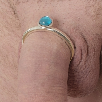 Mens Silver Penis Band with Jewel - 4 sizes