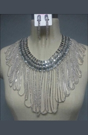 Nude Crystal Top with Attached Necklace and Matching Earrings