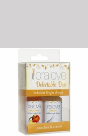 Oralove Delectable Duo Lickable Tingle Drops - Peaches and Cream - 2 Pack