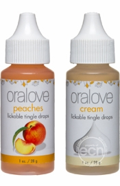 Oralove Delectable Duo Lickable Tingle Drops Peaches And Cream  Two 1 Ounce Bottles