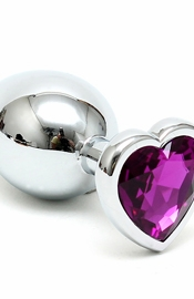 Silver Butt Plug with Purple Heart Shape Crystal