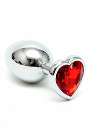 Silver Butt Plug with Red Heart Shape Crystal