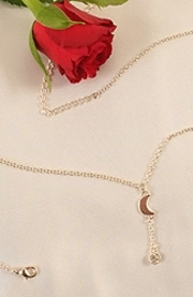 Silver Waist Chain with Moon and Crystal Jewel
