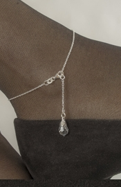 Silver Wrist or Ankle Chain with Crystal