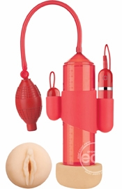 Supreme Vibrating Penis Pump With Vagina Masturbator Red 8 Inch Cylinder