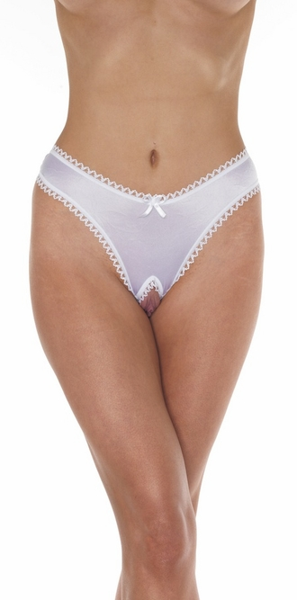 Tempt Me - Sexy Satin Crotchless Thong Panty