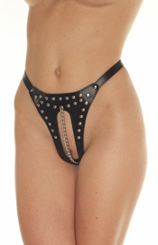 The Romance of Lust - Crotchless Leather G-String With Vaginal Chain