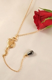 Waist Chain in Gold & Hematite with Cat and Moon Charms
