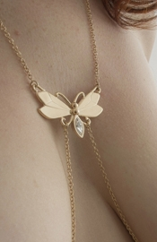Women's Butterfly Neck Chain with Non-Piercing Crystal Pendant Nipple Rings in Gold