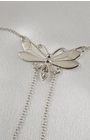 Women's Butterfly Neck Chain with Non-Piercing Crystal Pendant Nipple Rings in Silver