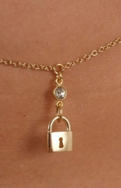 Women's Gold Waist Chain with Padlock