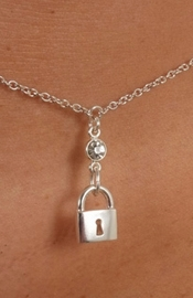 Women's Silver Waist Chain with Padlock