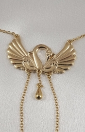 Women's Swan Neck Chain with Non-Piercing Nipple Rings in Gold