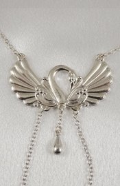 Women's Swan Neck Chain with Non-Piercing Nipple Rings in Silver