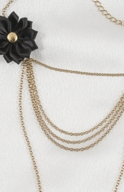 Women's Triple Necklace Chain with Bow and Non-Piercing Nipple Pendant Nipple Rings in Gold