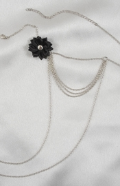 Women's Triple Necklace Chain with Bow and Non-Piercing Nipple Pendant Nipple Rings in Silver
