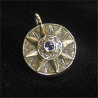 Compass Rose Pendant  with Blue Iolite & Working Compass