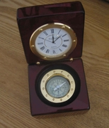 Desk Compass and Clock- Gold