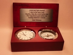 Desk Compass CLock engraved Song of the Open Road, Walt Whitman