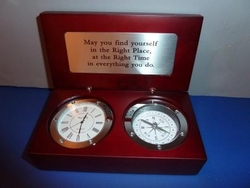 Desk Compass Clock - Right Place Right Time! Optional Engraving.