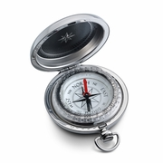 Groom's Silver Pocket Compass Gift with Initials