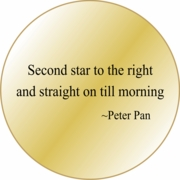 Solid Brass Pocket Compass: Peter Pan Second Star Quote