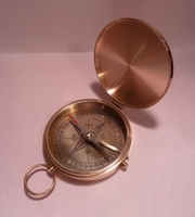 Solid Brass Pocket Compass: St Exupery Quote Engraved