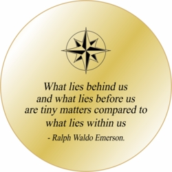 Solid Brass Pocket Compass: Emerson Quote What lies before...