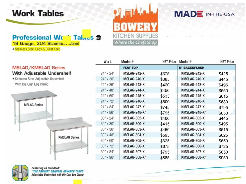 All Stainless Steel Work Tables