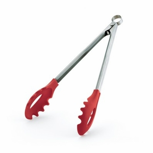 "TONGS W/TEETH 12"" RED SILICONE"