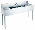 "Welded Bar Sinks w/ 2 Drainboards 12""x18 ½""x32 ¾"""