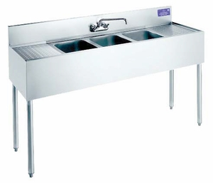 "Welded Bar Sinks w/ 2 Drainboards 36""x18 ½""x32 ¾"""