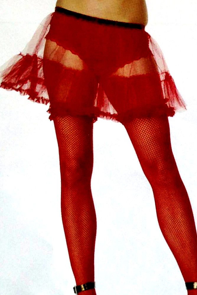 "15"" Red Petticoat With Satin Lace Trim"