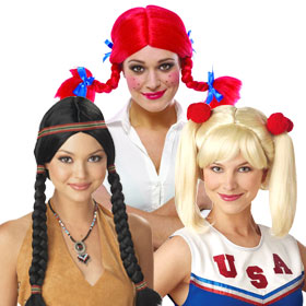 Adult Pig Tails Wigs