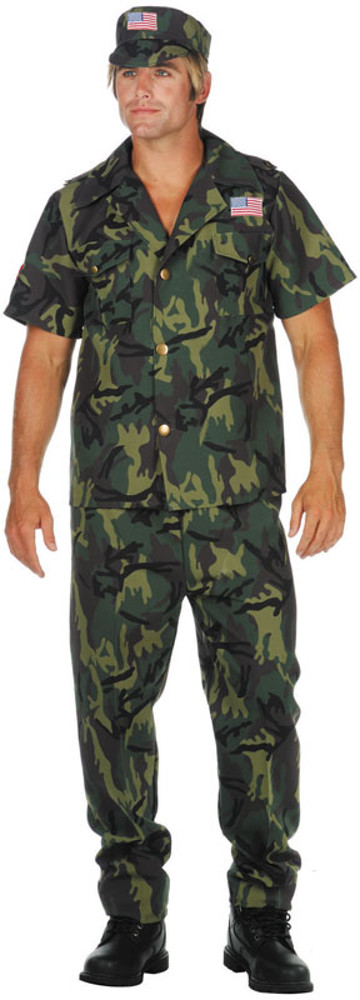 Adult Plus Size Camo Commando Costume