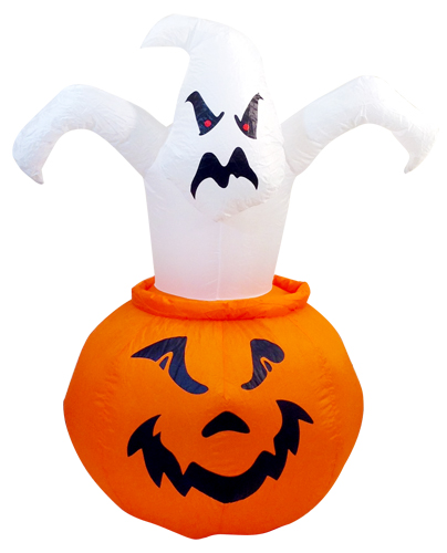 Airblown Pumpkin w/Pop Out Ghost