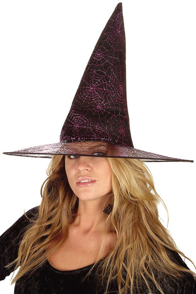 "Black Glitter Witch Hat 14""X13"""