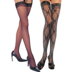 Black Lace Thigh High Stockings