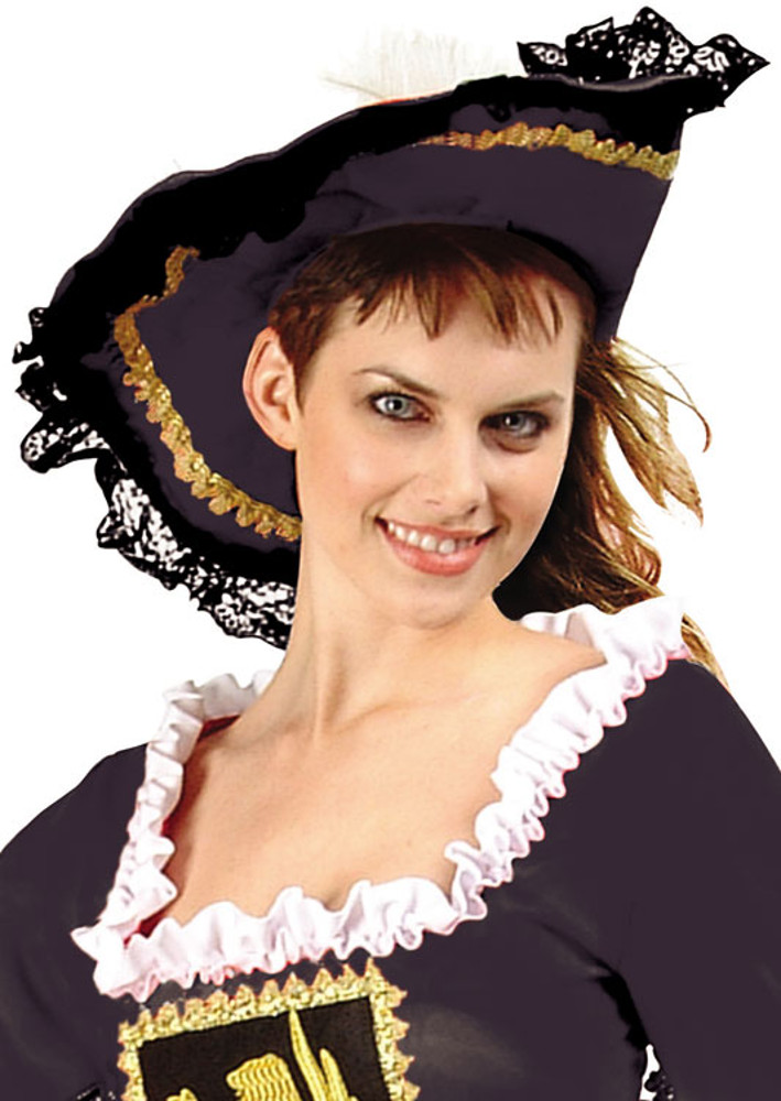 Black Musketeer Pirate Hat With Lace