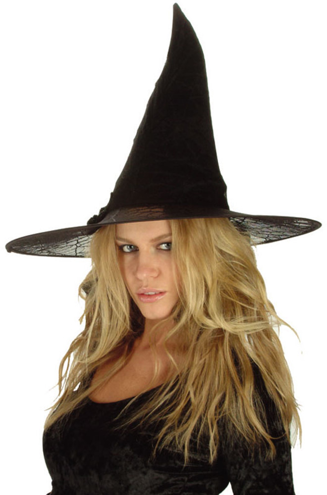 "Black Spider Witch Hat 14""X13"""