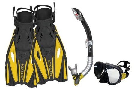 Body Glove Vapor Mask, Snorkel and Fins Set