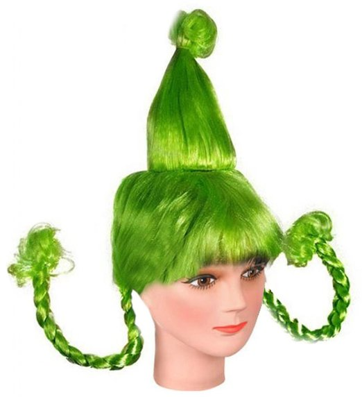 Green Whoville Who Costume Wig With Braids