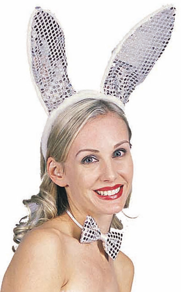 Silver Sequined Bunny Ears
