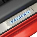 Scion xD Door Sill Protectors 2008-2010 w/Blue illuminated Scion Logo Front Pair Genuine Toyota #PTS21-52081