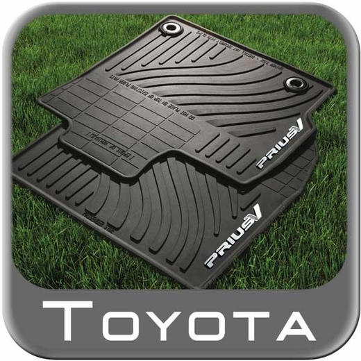 Toyota Prius Rubber Floor Mats 2012-2016 V All-Weather Black 4-Piece Set Genuine Toyota #PT908-47120-20