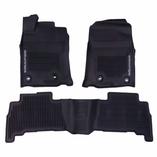 Toyota 4Runner Floor Mats 2013-2019 Rubber, All-Weather Black 3-Piece