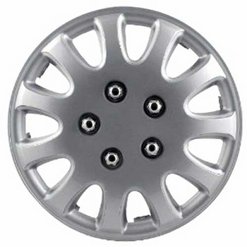 "5-Lug Style, 11-Spoke 14"" Silver Hub Caps Pilot Automotive® #WH525-14S-BX"