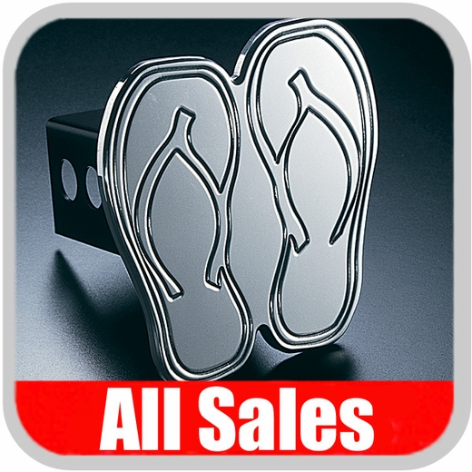 All Sales Trailer Hitch Cover Hula Hitch Cover Hula Theme w/Flip-Flops Design Polished Aluminum Finish #1022